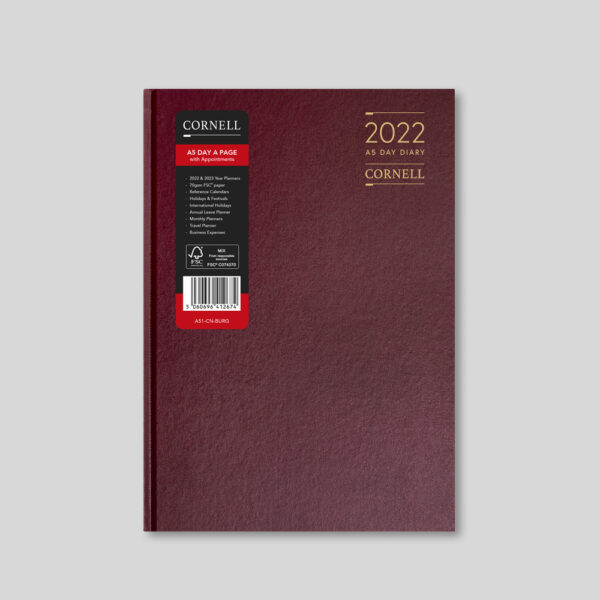 CORNELL 2022 A5 Daily Diary with Appts – Burgundy