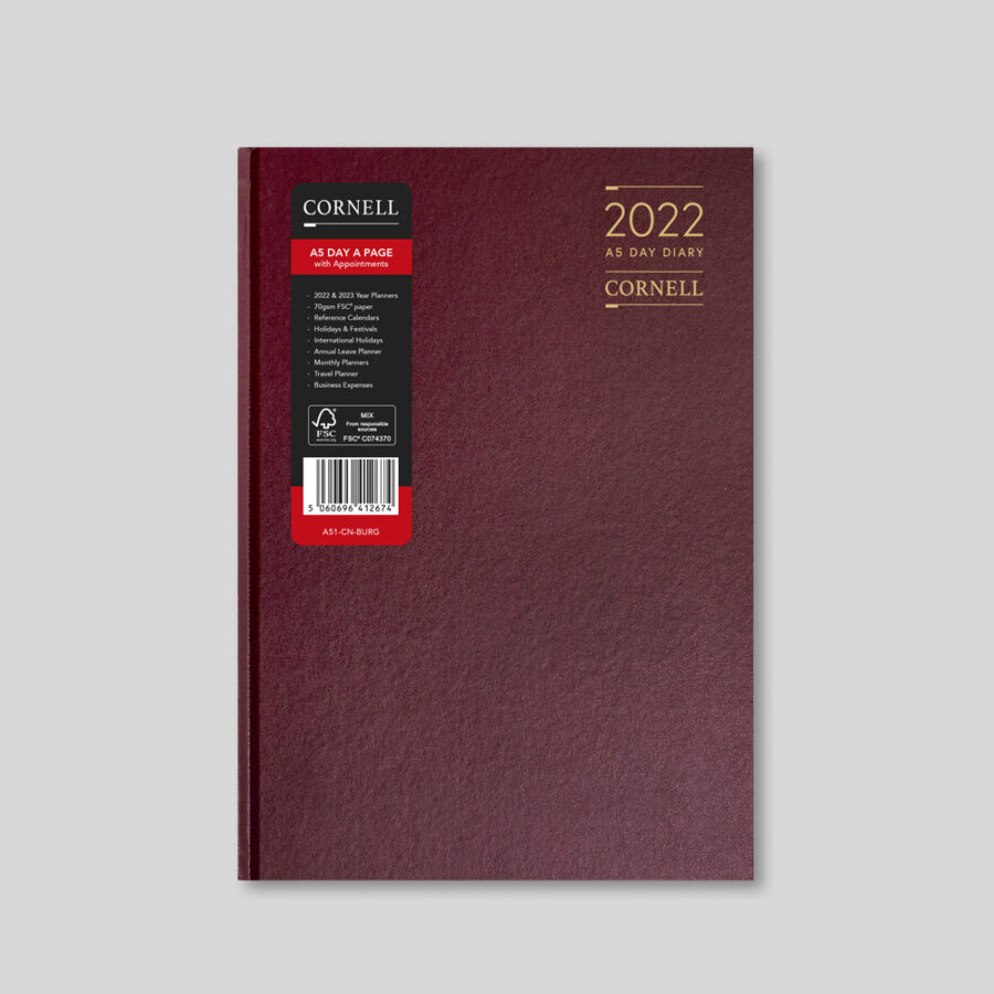 2022 Desk Diary from CORNELL - A5 Daily Burgundy
