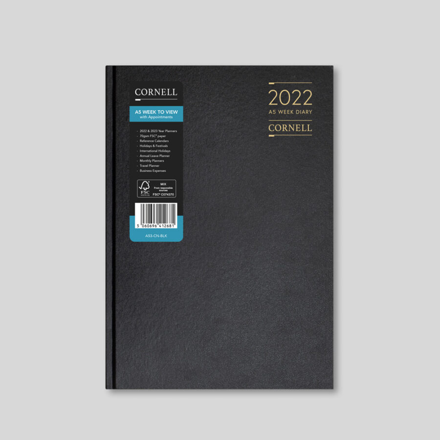 2022 Desk Diary from CORNELL - A5 Weekly Black