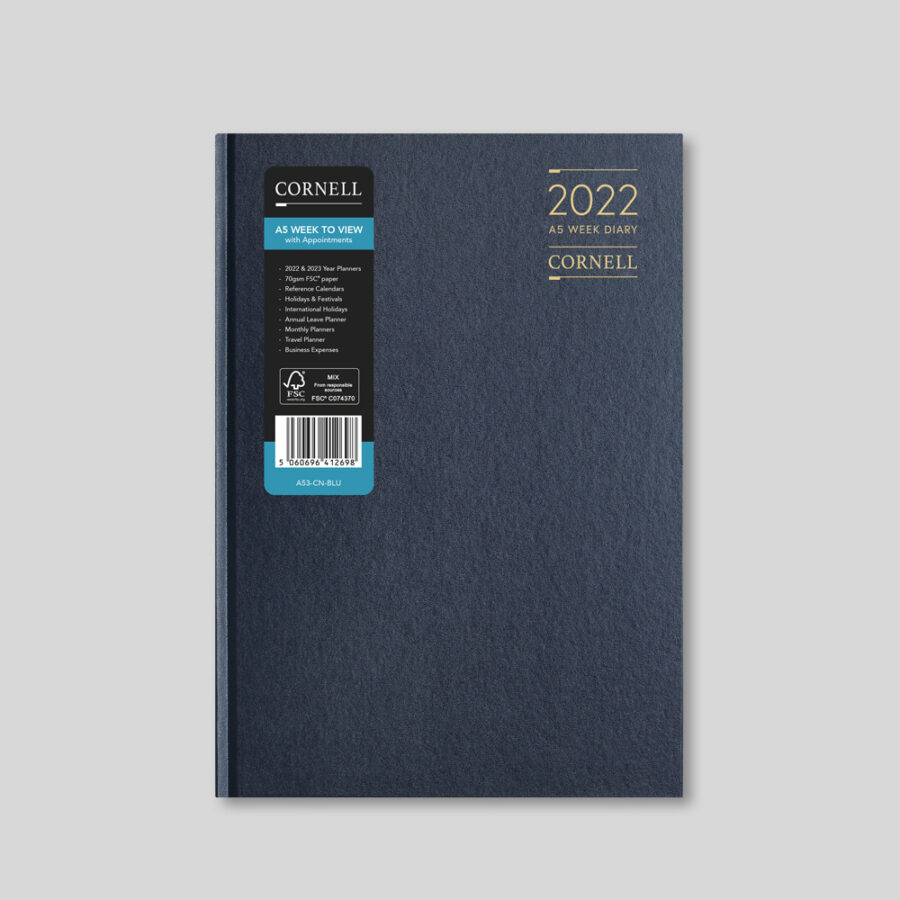 2022 Desk Diary from CORNELL - A5 Weekly Blue