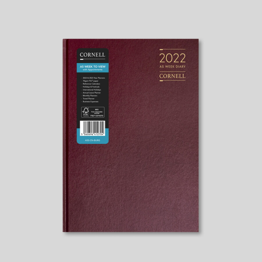 2022 Desk Diary from CORNELL - A5 Weekly Burgundy